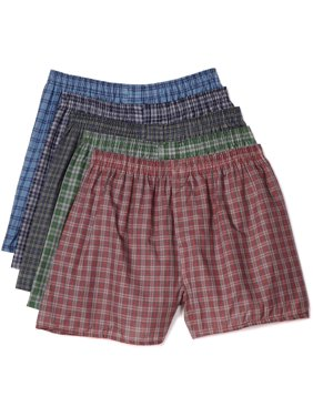 Fruit Of The Loom Mens Woven Plaid Boxers 5 Pack 3XL