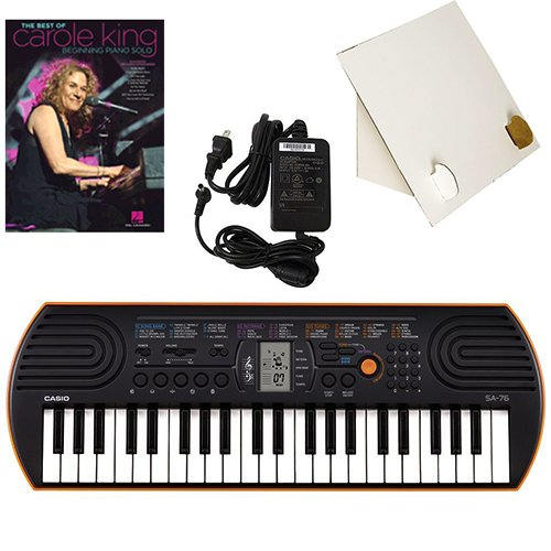 Casio SA-76 44 Key Mini Keyboard Deluxe Bundle Includes Bonus Casio AC Adapter, Desktop Music Stand & Carole King Beginning Piano Solo Songbook