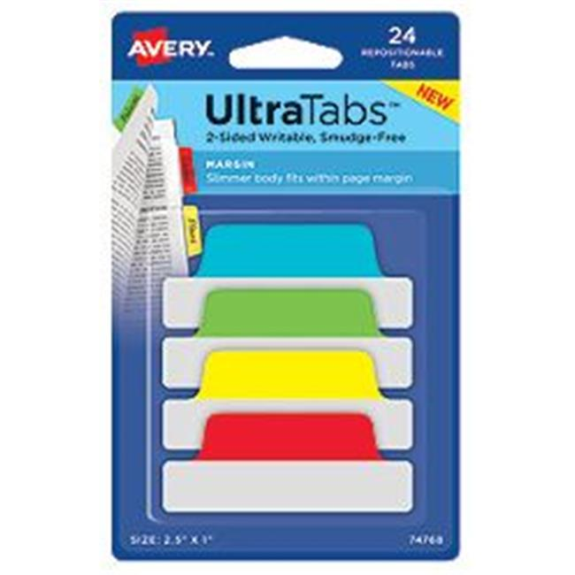 Avery-Dennison 74768 Ultra Tabs Repositionable Tabs, Green, Red, Yellow & Blue - 2.5 x 1 in.
