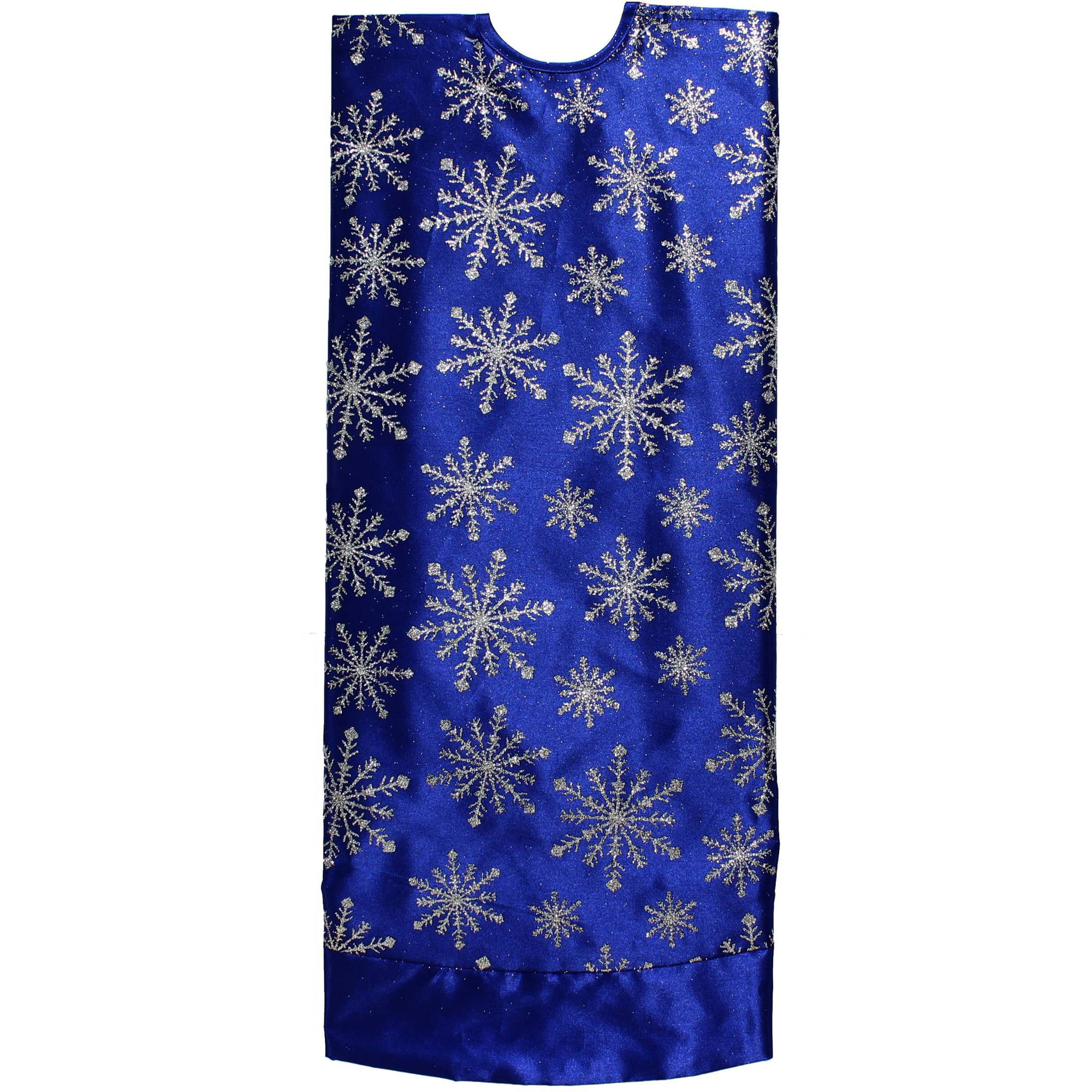 Satiny Gold with Glitter Snowflakes Christmas Tree Skirt 48 Inch
