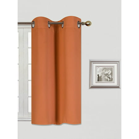 (K30) BRICK RUST 1 Panel Silver Grommets KITCHEN TIER Window Curtain 3 Layered Thermal Heavy Thick Insulated Blackout Drape Treatment Size 30
