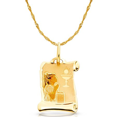 14K Yellow Gold Communion Enamel Picture Girl Charm Pendant with 1.2mm Singapore Chain Necklace - Girls Communion Jewelry