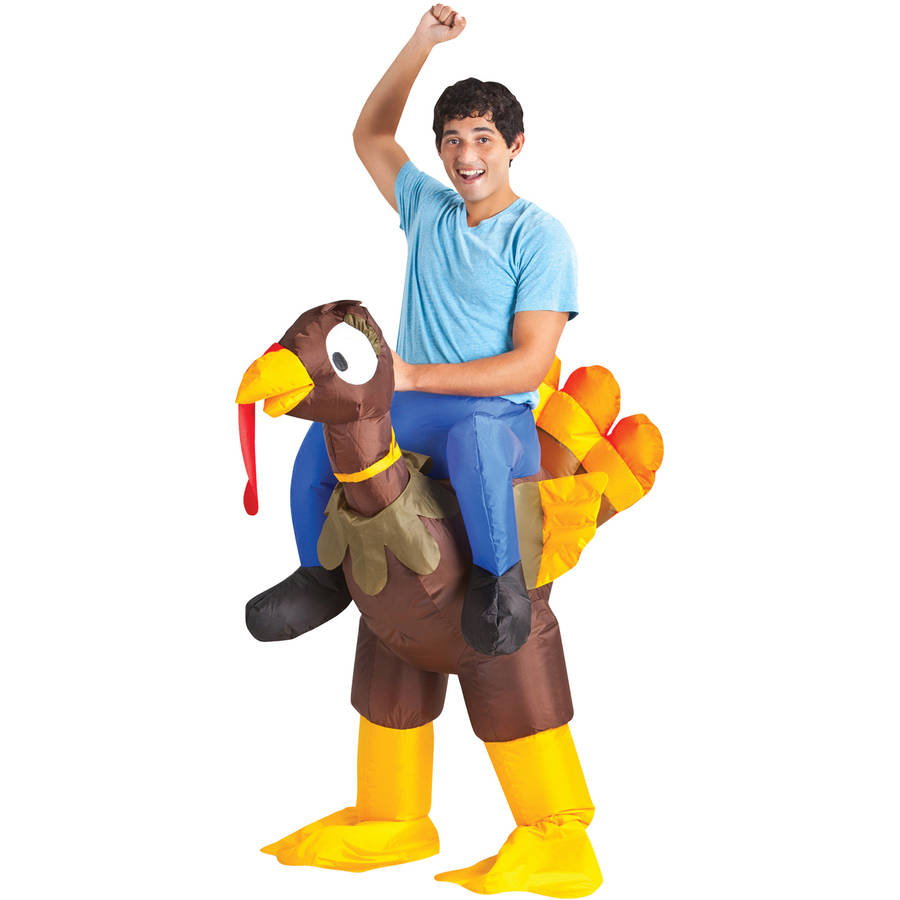 Turkey Rider Inflatable Men's Costume, One Size Fits Most