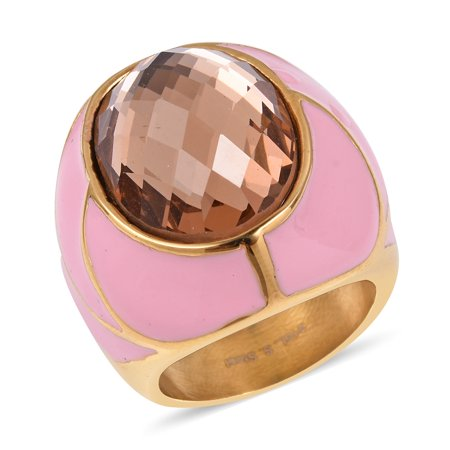 Womens Stainless Steel ION Plated Yellow Gold Oval Champagne Glass Statement Ring for (Champagne Cocktail Ring)