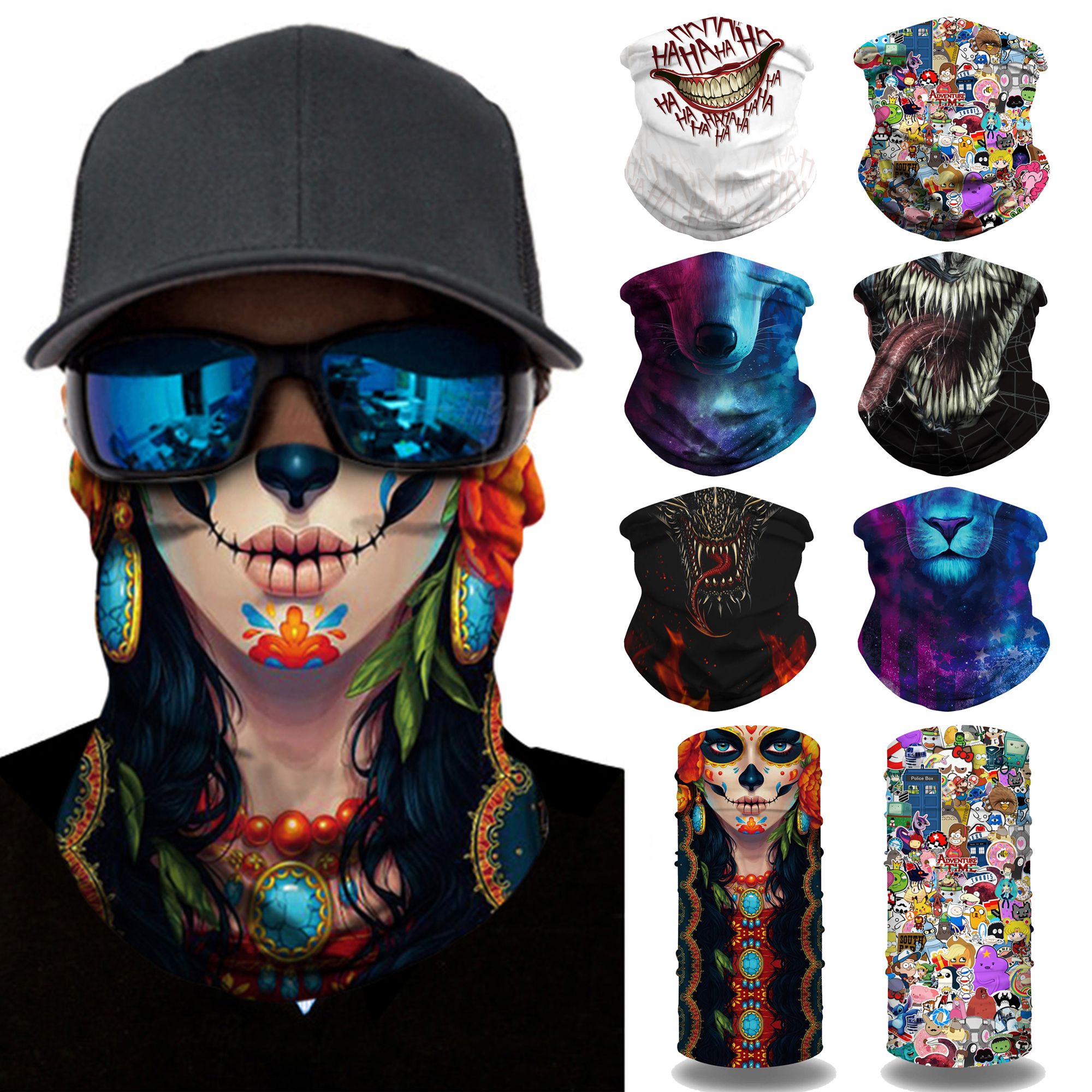 Face Covering for Men Women Cooling Neck Gaiter Bandana Face Scarf for Summer Outdoor Fishing Motorcycle Halloween Christmas