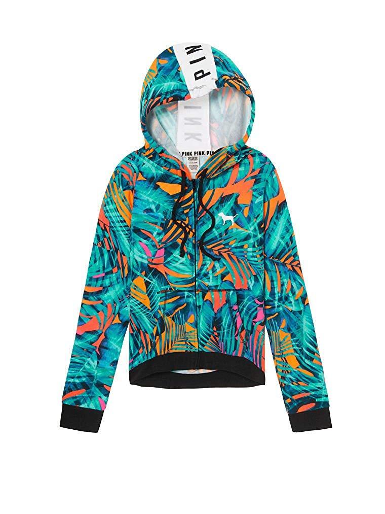 6afdcb832 Victoria's Secret PINK Slouchy Hi Lo Hem Full Zip Hoodie Sweatshirt  Tropical S