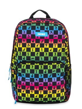 Fortnite Unisex Amplify Rainbow Checkered Backpack with Side Exterior Mesh Pocket