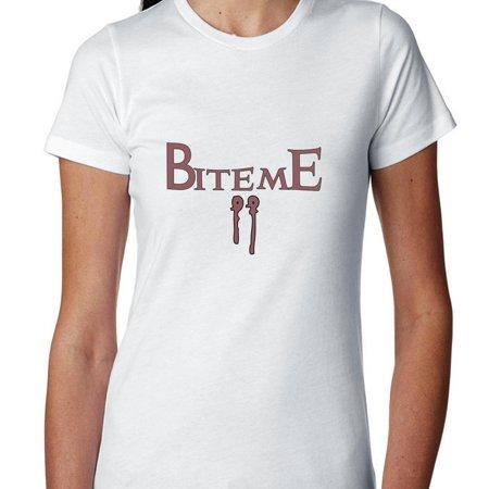 Vampire Bite Me Fang Mark Halloween Women's Cotton T-Shirt](Bite Marks Halloween)