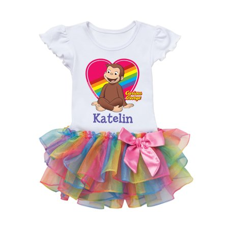 Curious George Rainbow Heart Personalized Rainbow Toddler Tutu Tee