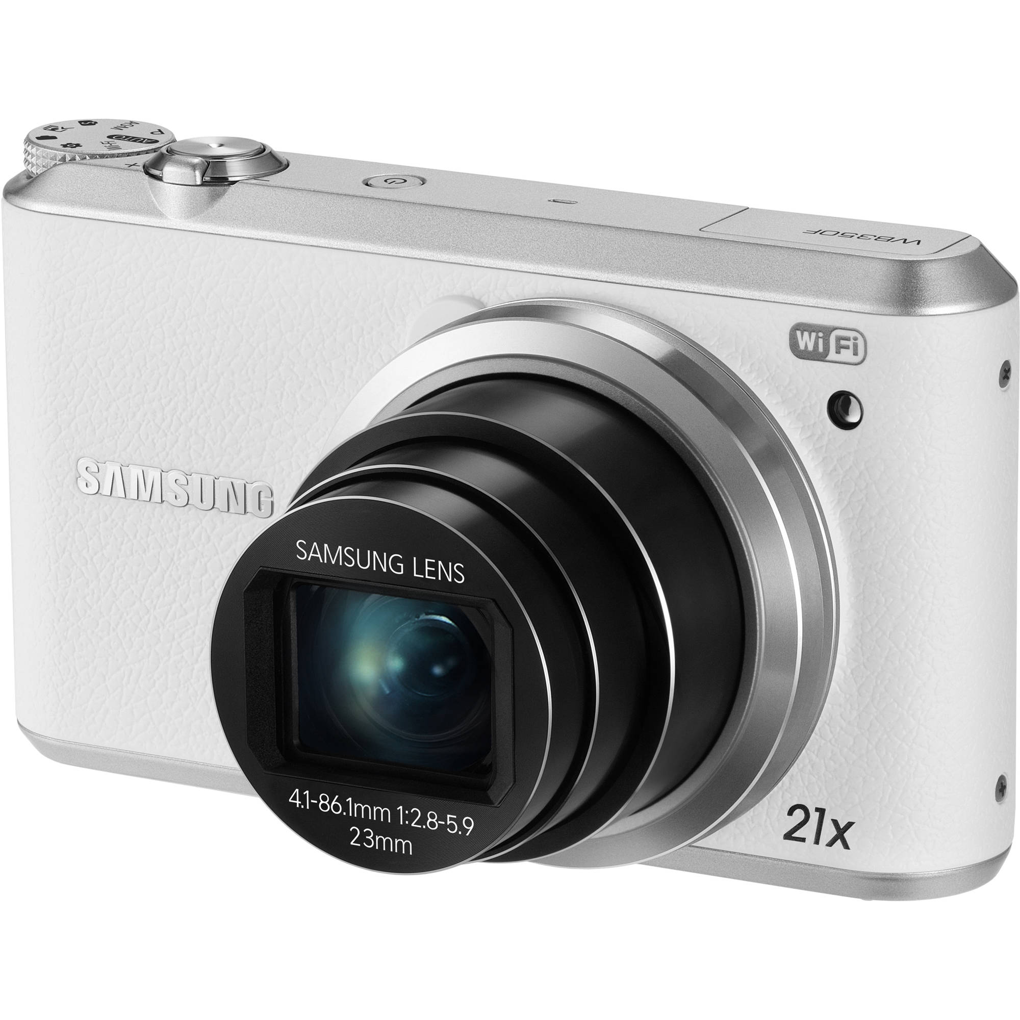 Samsung White WB350F Smart Digital Camera with 16.3 Megapixels and 21x Optical Zoom
