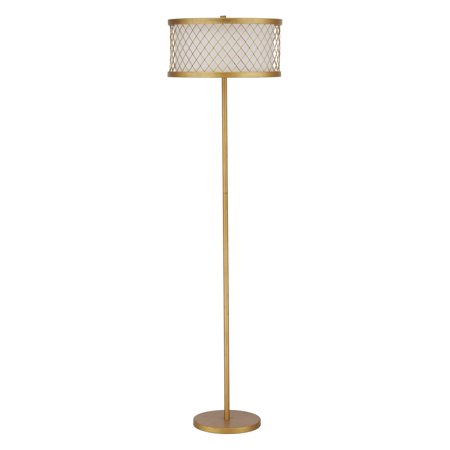 Safavieh Evie Mesh Floor Lamp with CFL Bulb, Antique Gold with Off-White Shade