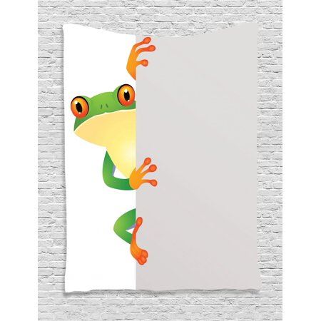 Reptile Tapestry, Funky Frog Prince with Big Eyes on Wall Camouflage Nursery Reptiles Theme, Wall Hanging for Bedroom Living Room Dorm Decor, Green Yellow Orange, by Ambesonne