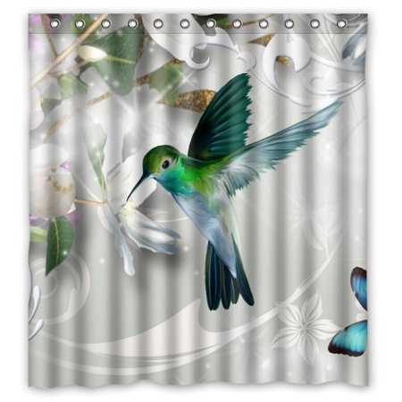 HelloDecor Hummingbird Gathering Honey Green And Blue Gray Shower Curtain Polyester Fabric Bathroom Decorative Size 66x72 Inches