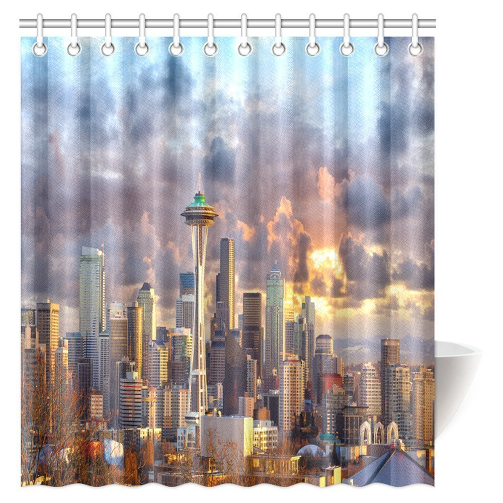 GCKG Wanderlust Decor Shower Curtain Seattle Skyline At Sunset WA USA Sun Lights Through Dramatic Clouds Scene Fabric Bathroom With Hooks