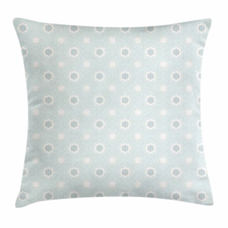 Quatrefoil Throw Pillow Cushion Cover, Archaic Symbol of Morocco Classical White Star Shapes on Pale Blue Backdrop, Decorative Square Accent Pillow Case, 20 X 20 Inches, Baby Blue White, by Ambesonne