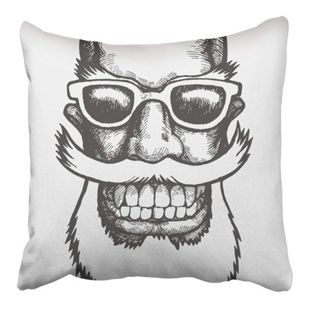 CMFUN Sketch Lucky Dude with Mustaches Beard and Sun Glasses Engraving Style Mouth Pillowcase Cushion Cover 16x16 inch - Dudes With Beards