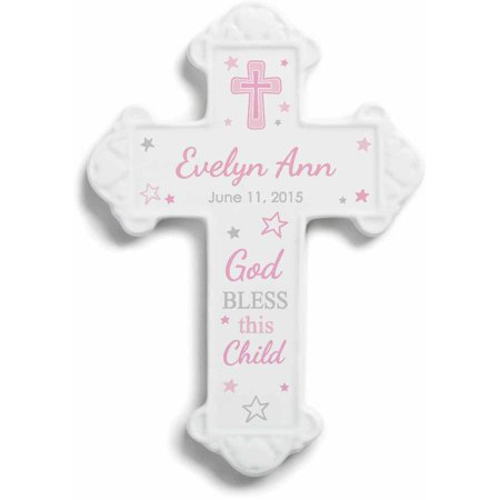 Personalized God Bless This Child Wall Cross For Girls (Personalized Crosses)