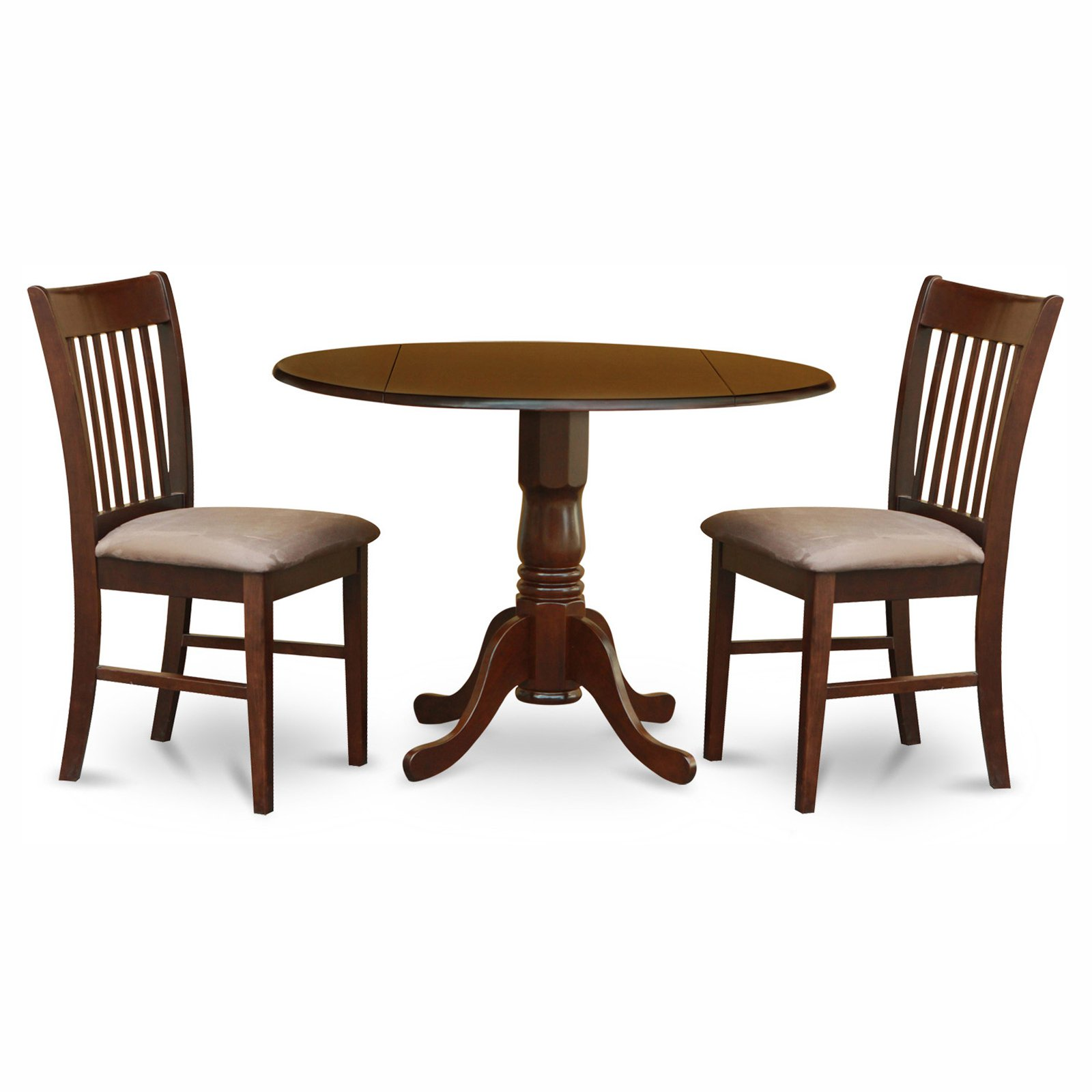 East West Furniture Dublin 3 Piece Drop Leaf Dining Table Set with Norfolk Microfiber Seat Chairs