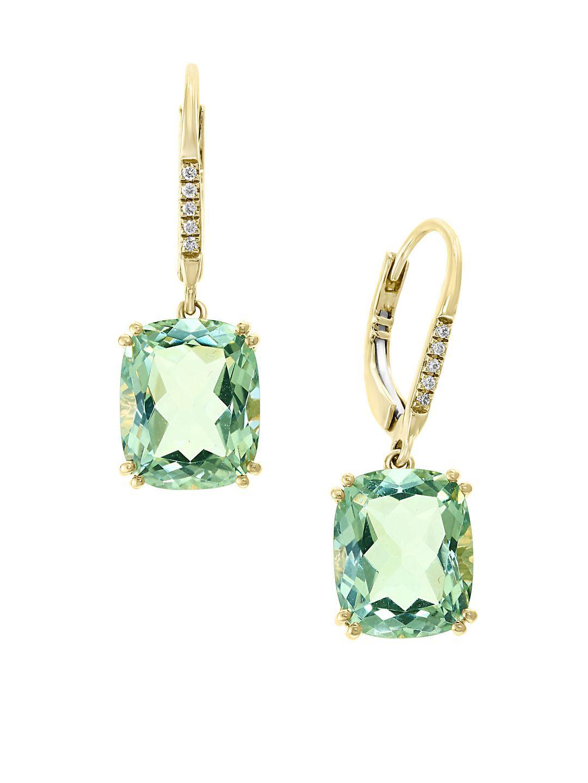 14K Yellow Gold, Green Amethyst & Diamond Drop Earrings