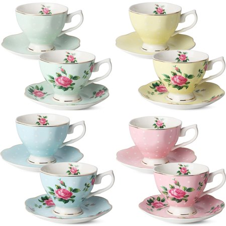 BTäT- Floral Tea Cups and Saucers, Set of 8 (8 oz) Multi-color with Gold Trim and Gift Box, Coffee Cups, Floral Tea Cup Set, British Tea Cups, Porcelain Tea Set, Tea Sets for Women, Latte Cups (Vietnam Tea Set)
