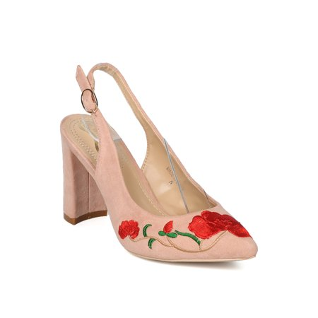 New Women Embroidered Slingback Block Heel Pump - 17934 By Elegant Collection - Heel Collection
