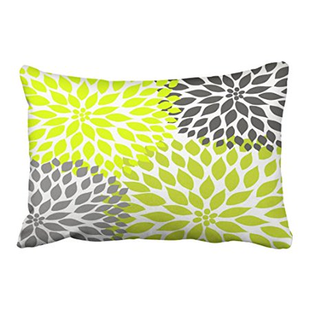 WinHome Decorative Chartreuse Green and Gray Dahlia Pillows Pillow Case Covers Size 20x30 inches Two Side ()