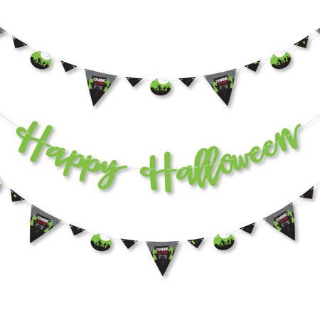 Zombie Zone - Halloween Zombie Crawl Party Letter Banner Decoration - 36 Cutouts and Happy Halloween Banner Letters - Happy Tree Friends Halloween Zombie 2017