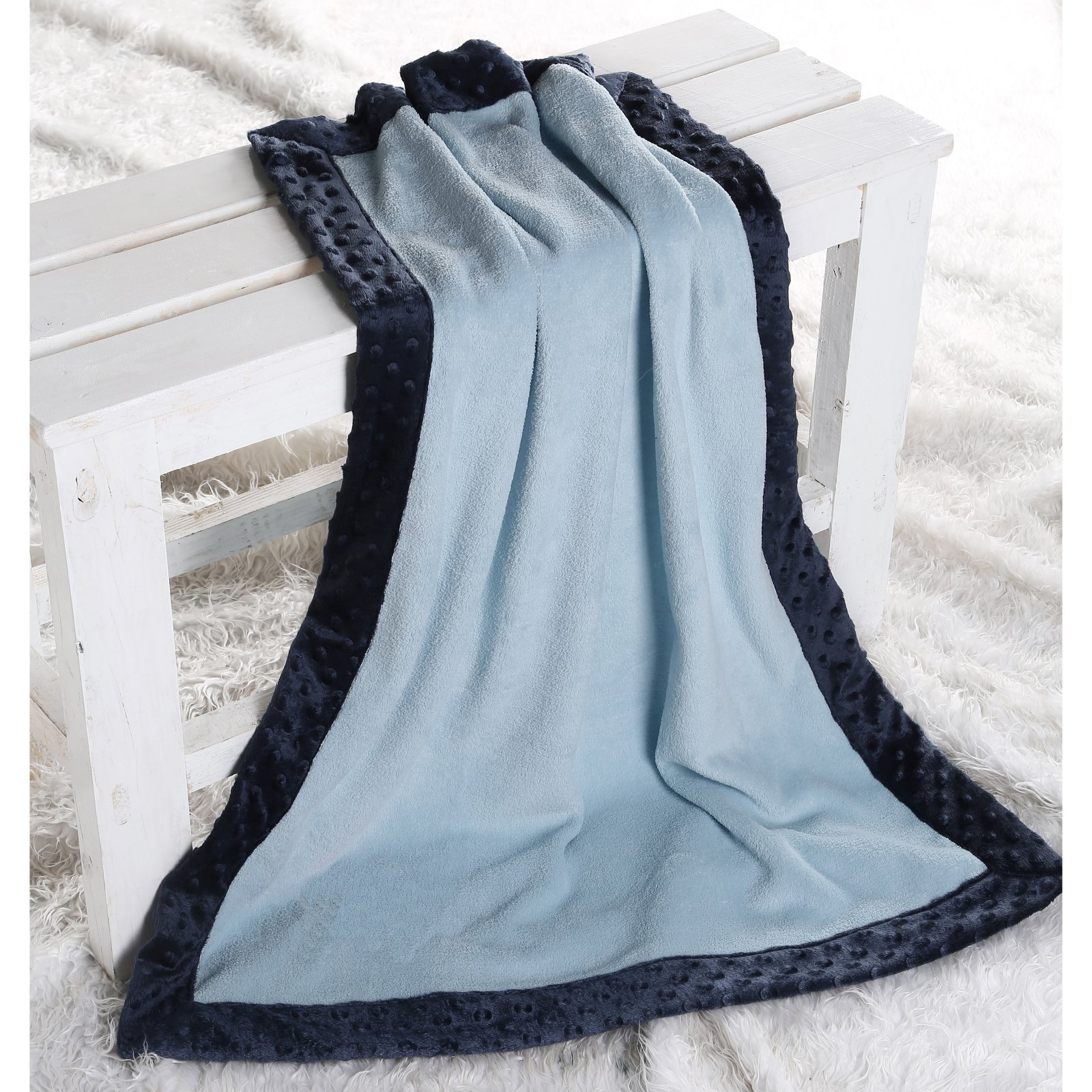 Bacati Solid Bordered Plush Blanket