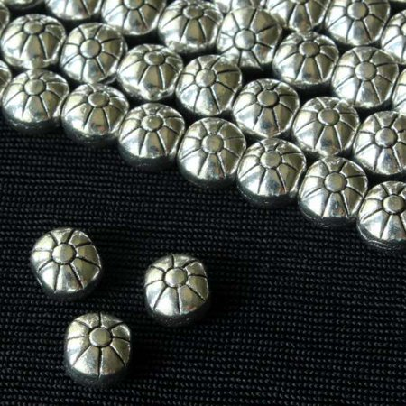 Cherry Blossom Beads 8 inch strand Silver Pewter 5x7mm Puff Flower Beads Cherry Blossom Flower Bead