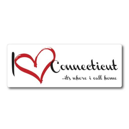 I Love (heart) Connecticut, It's Where I Call Home Car Magnet 3x8