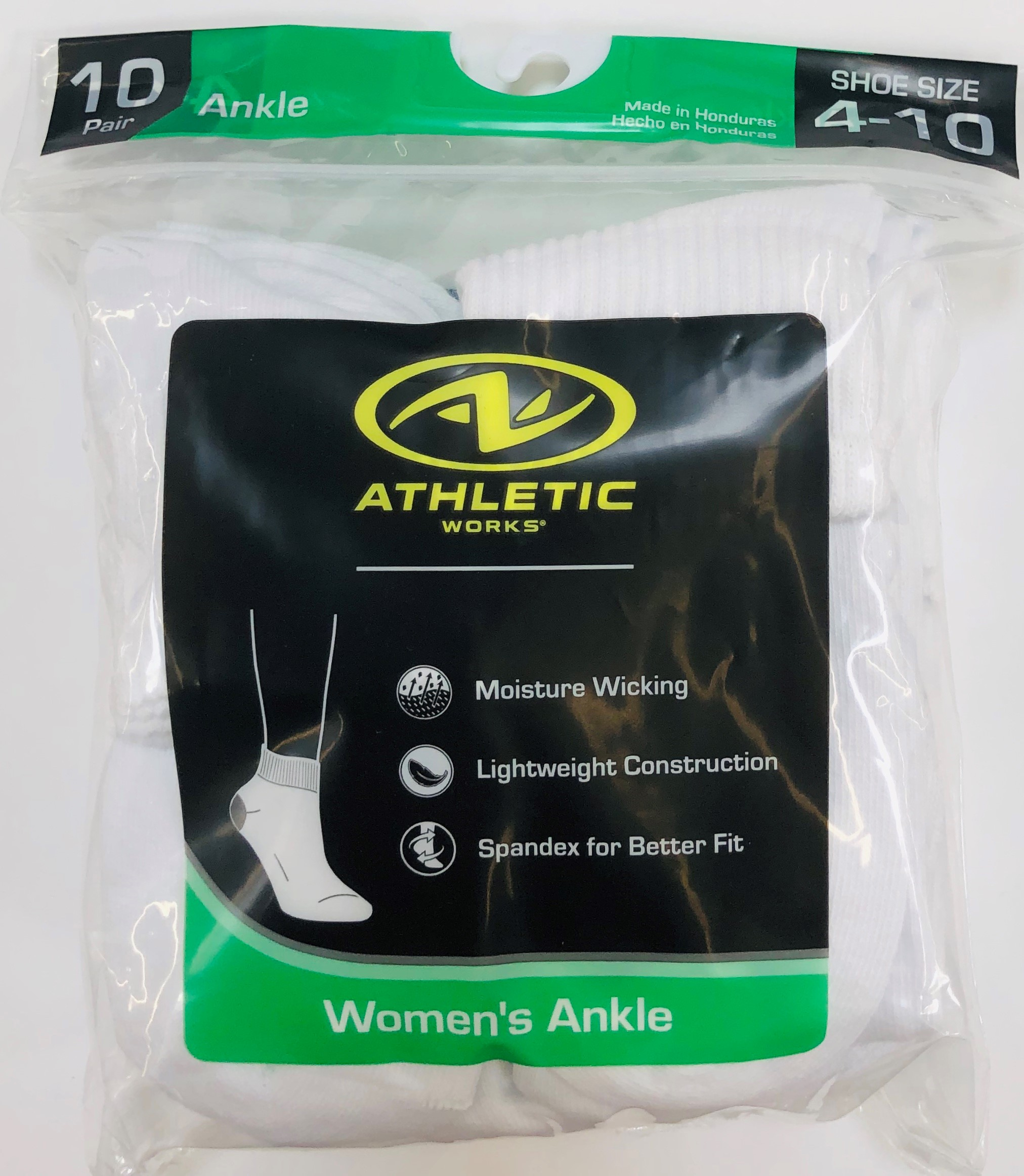 Athletic Works Women's Flat-Knit Ankle Socks, 10 Pairs, White, 4-10