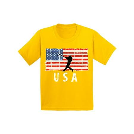Baseball Gifts For Boys (Awkward Styles Baseball USA Youth Shirt One Nation Retro USA Boy Girl T shirt Kids Gifts USA Baseball Tshirt for Boys Red White and Blue USA Baseball Tshirt for Girls)
