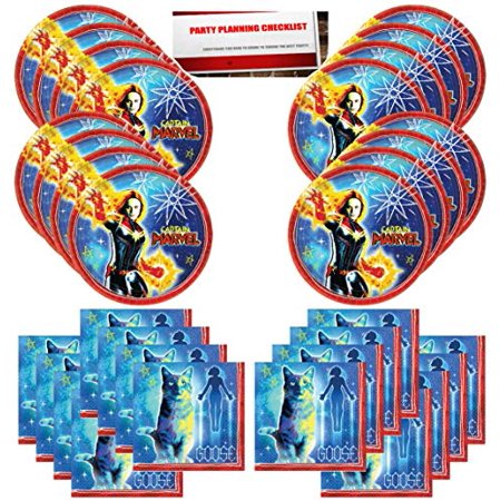 Captain Marvel Birthday Party Supplies Bundle Pack for 16 Guests (Plus Party Planning Checklist by Mikes Super Store) - Party Store Brighton