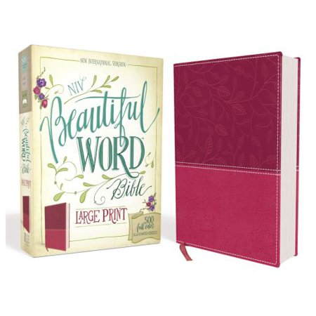 NIV, Beautiful Word Bible, Large Print, Imitation Leather, Pink : 500 Full-Color Illustrated Verses - Hunting Bible Verses