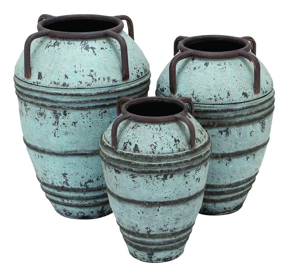 3-Pc Metal Vase Set