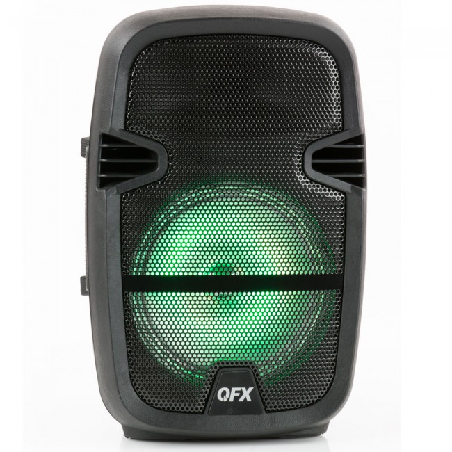 QFX PBX-61087 Portable Party Speaker Wireless Microphone & Stand Included
