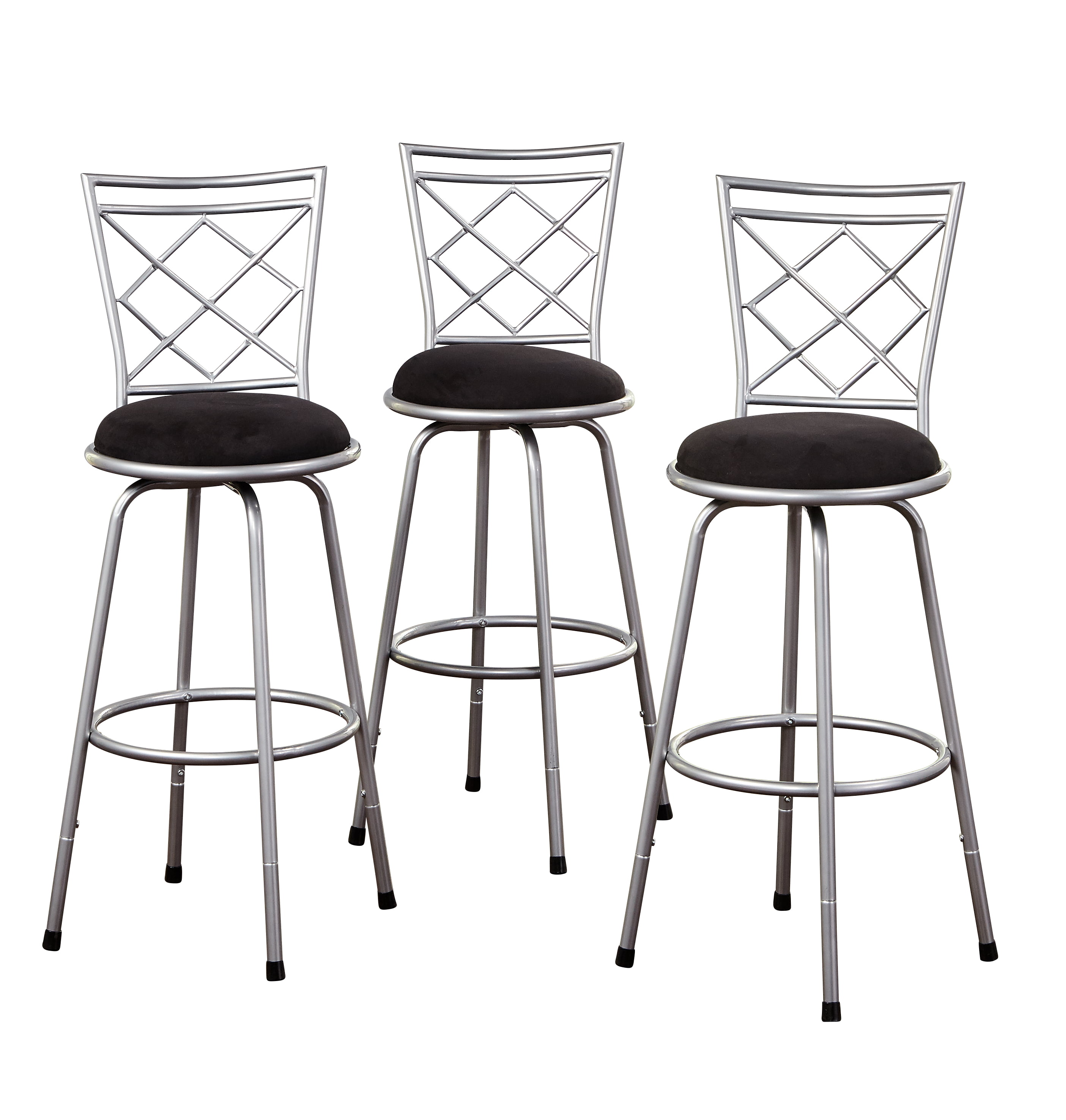 Bar Stools Set Of 3 High Seat Chairs Adjustable Swivel