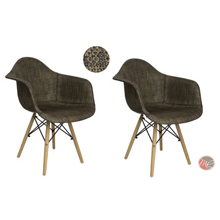 MADISON PARK SET OF 2 Modern Contemporary Eames HAVERFORD Leisure Chair Rattan Black/Bronze Seating Accent for Dinning, Den, Bedroom or Kitchen ()