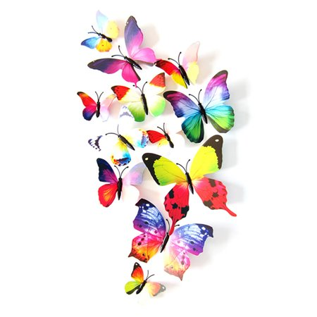 12 PCS 3D Butterfly Magnetic Refrigerator Stickers, Justdolife Art Decor Decals Home Kitchen Decoration (Multicolor)