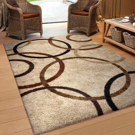 Orian Rugs Soft Shag Circle Of Life Bisque Area Rug