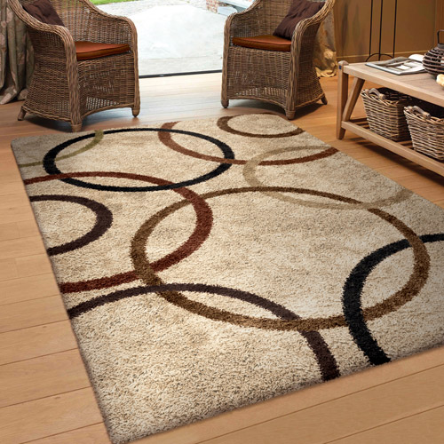 Amazing Orian Rugs Soft Shag Circle Of Life Bisque Area Rug