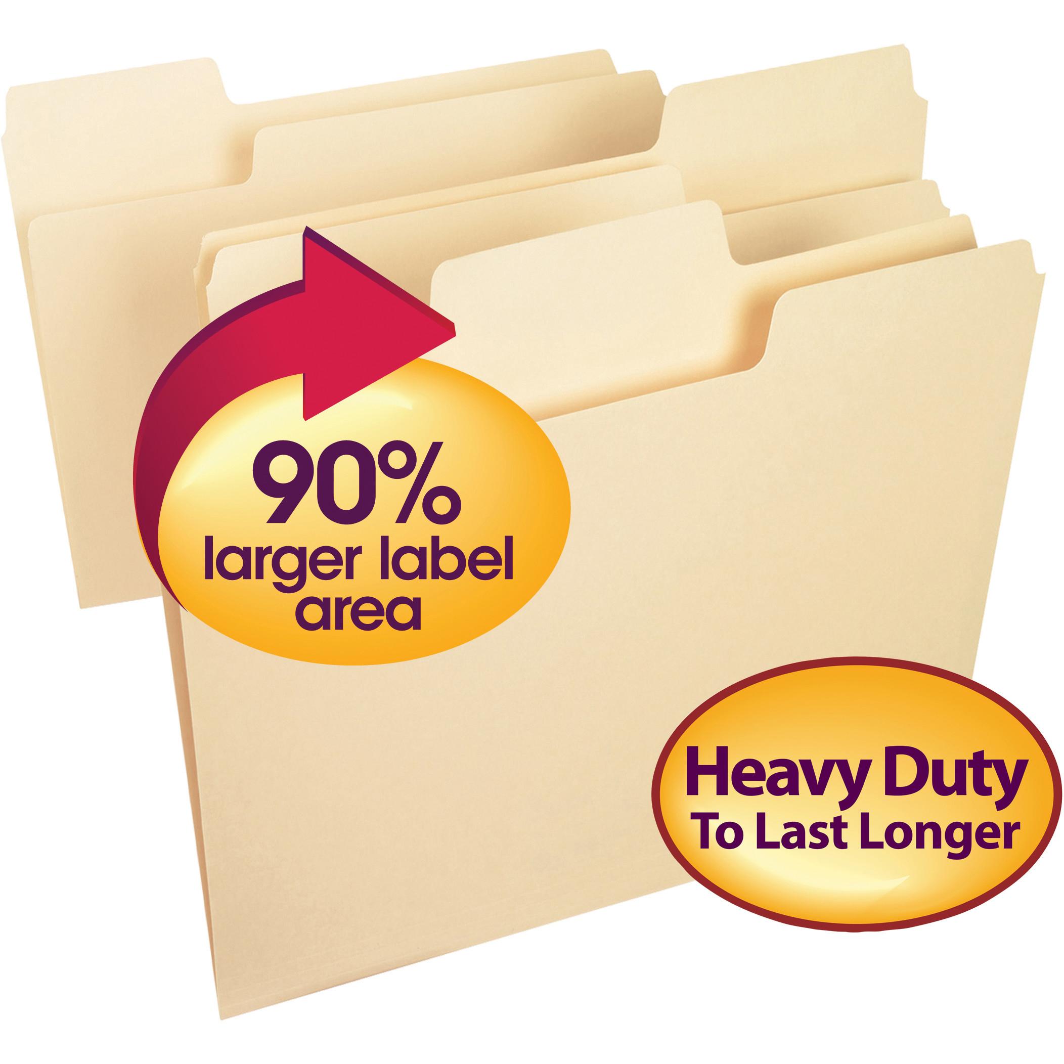 Smead SuperTab® Heavyweight File Folder, Oversized 1/3-Cut Tab, Letter Size, Manila, 50 Per Box (10401)