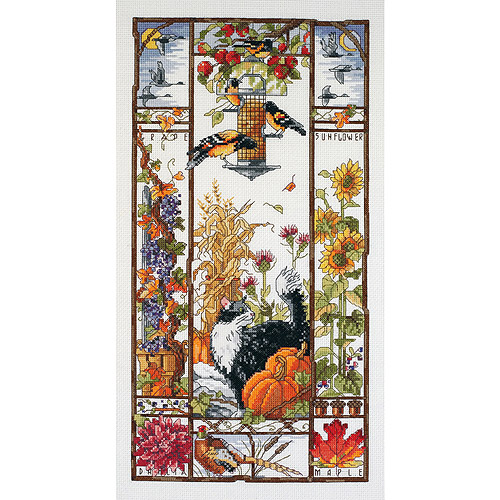 """Autumn Cat Sampler Counted Cross Stitch Kit-8""""X16"""" 14 Count"""