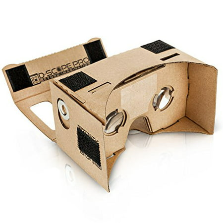 D Scope Pro Google Cardboard Kit With Straps 3D Virtual Reality Compatible With Android   Apple Easy Setup Instructions Machine Cut Quality Construction 45Mm Lenses Hd Visual Experience