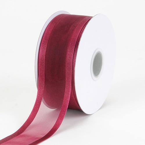 Burgundy - Organza Ribbon Two Striped Satin Edge - ( W: 3/8 inch   L: 25 Yards )