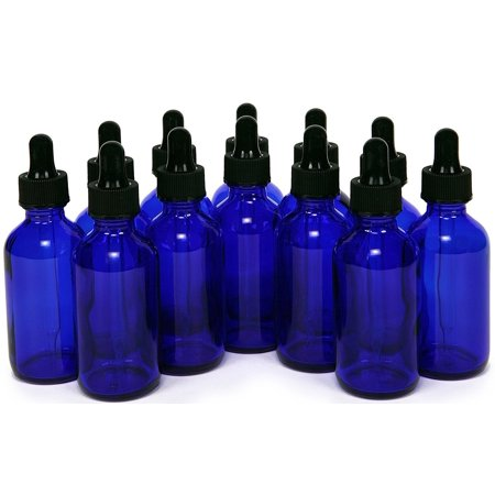 Blue Round Glass (25 - 1oz Cobalt Blue Glass Boston Round Bottle w/ Black Glass)
