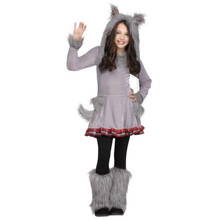 Wolf Cub Wolf Hood Ears Tail Girls Child Costume Medium - Little Red Riding Hood And Wolf Costume