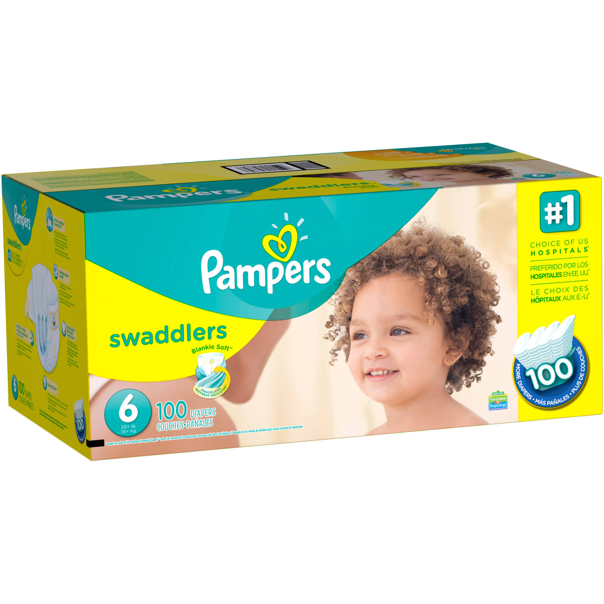 Pampers Swaddlers Diapers, Size 6, 100 Diapers