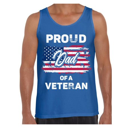 Awkward Styles Proud Dad of a Veteran Men Tank Top Superhero USA Patriotic Dad Shirt Red White and Blue 4th of July Top for Dad Love USA Proud Dad Tank 4th of July Party Retro USA Tshirt for