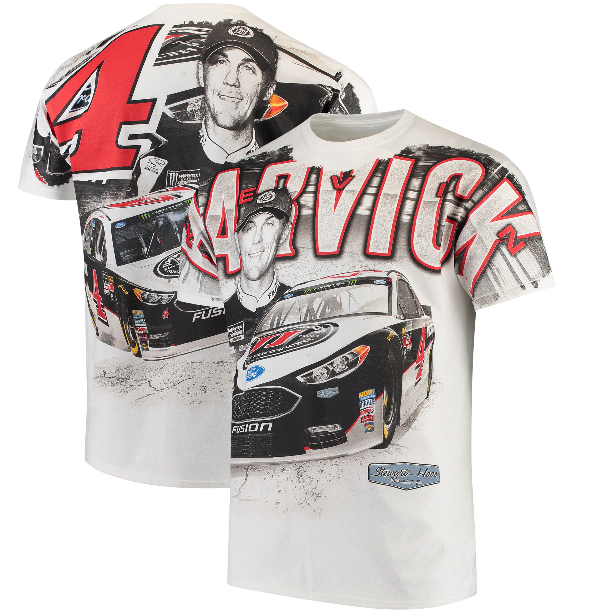 Kevin Harvick Stewart-Haas Racing Team Collection Jimmy John's Total Print T-Shirt - White